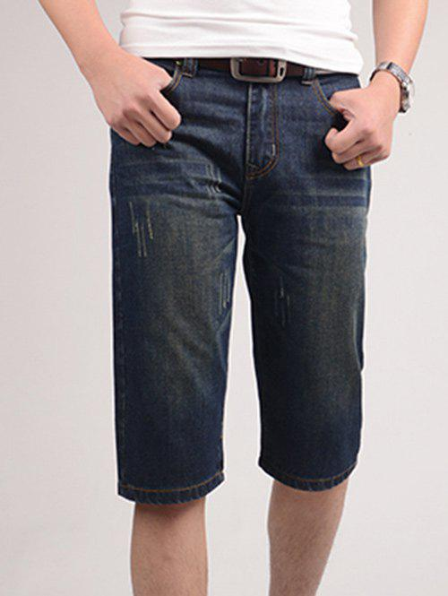 Solid Color Bleach Wash Zipper Fly Straight Leg Men's Denim Shorts - DEEP BLUE 32