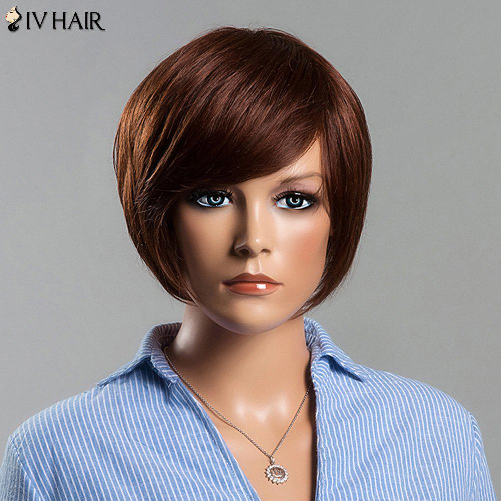 Attractive Side Bang Women's Short Straight Siv Human Hair Wig