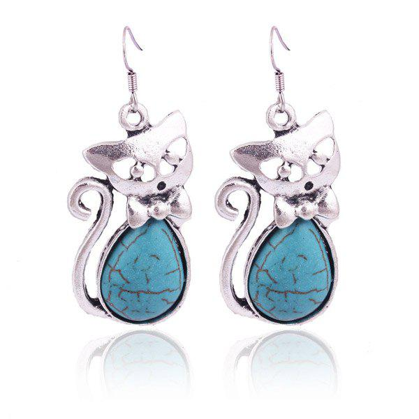 Pair of Hollow Out Fox Teardrop Faux Turquoise Earrings - SILVER