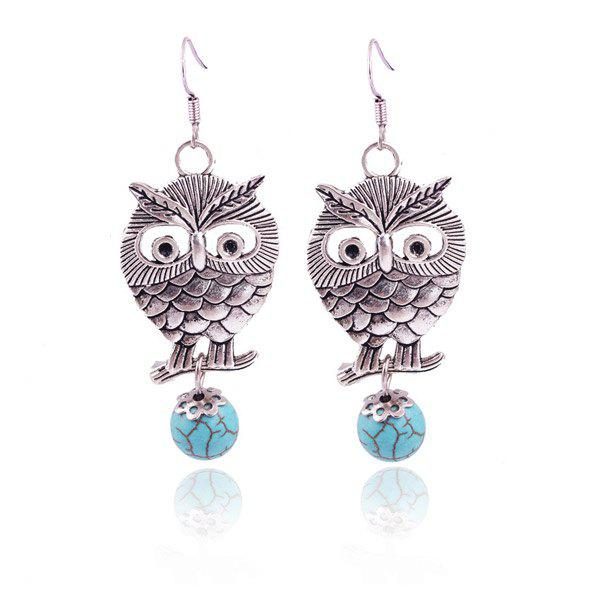 Pair of Vintage Carved Alloy Owl Faux Turquoise Ball Earrings For Women