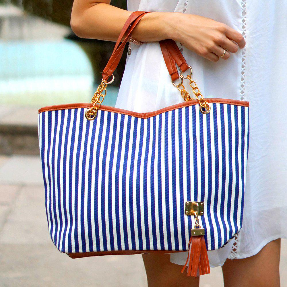 Stylish Stripe and Metallic Chains Design Shoulder Bag For Women - BLUE