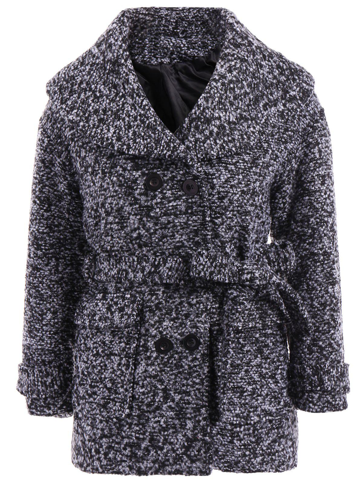 Casual Double Breasted Turn-Down Collar Long Sleeve Coat For Women - BLACK S