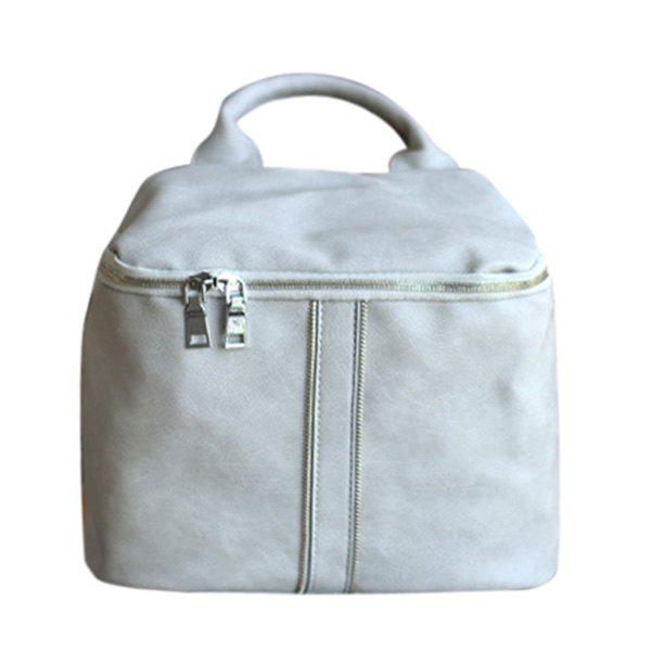 Stylish Solid Color and Zippers Design Women's Satchel - LIGHT GRAY