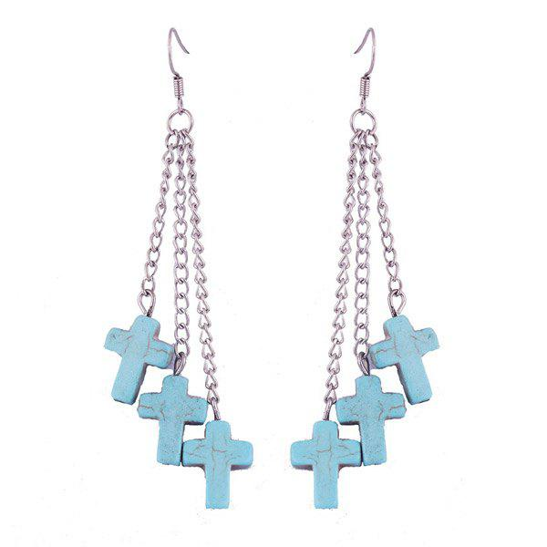 Pair of Faux Turquoise Cross Shape Tassel Earrings - SILVER
