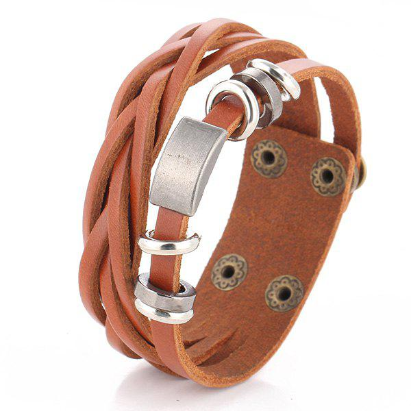 Faux Leather Alloy Round Bracelet - BROWN