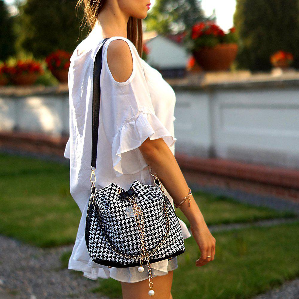 Stylish Houndstooth and Chain Design Shoulder Bag For Women - WHITE/BLACK