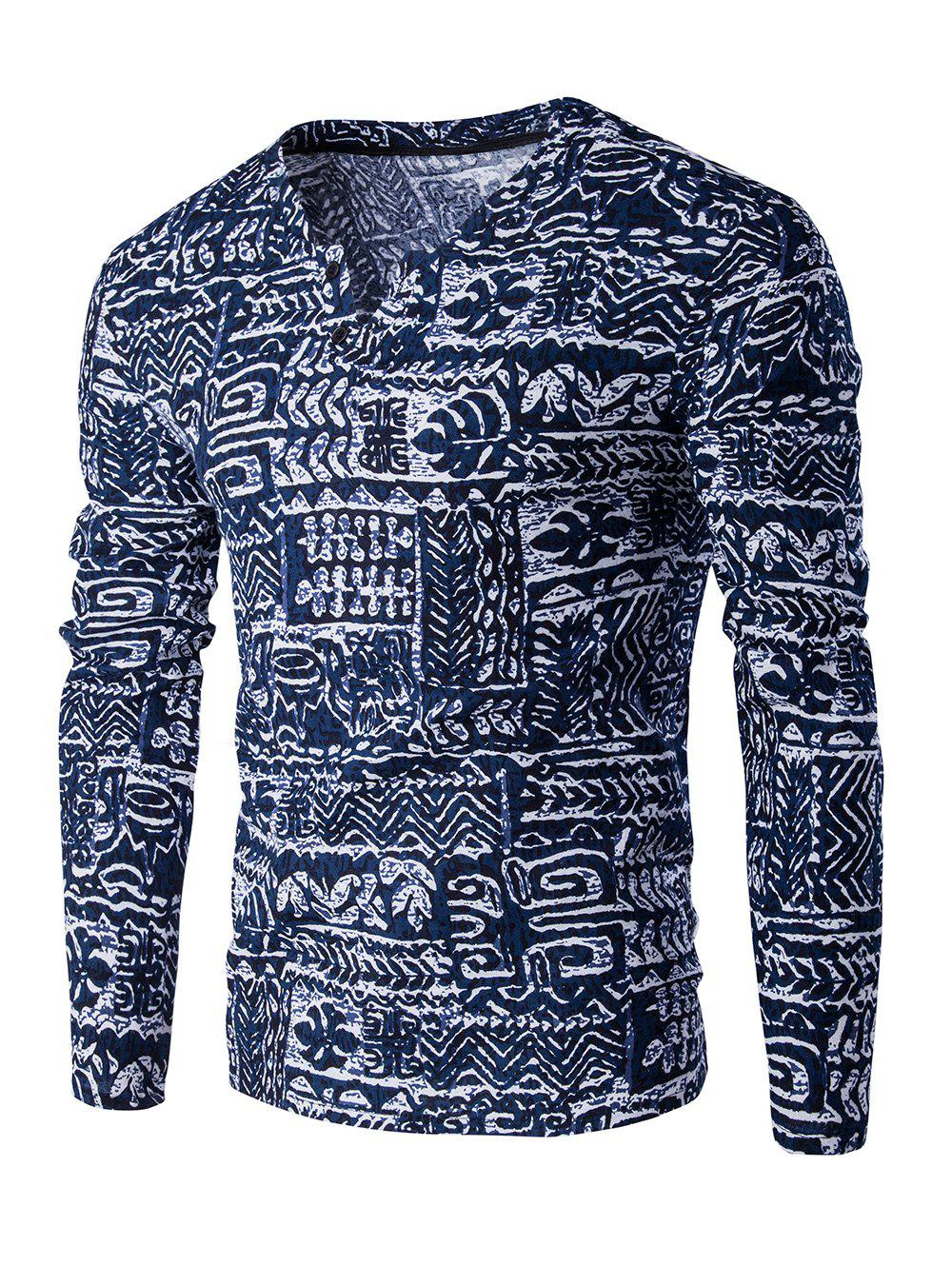 Buttons Design Abstract Ethnic Style Pattern V-Neck Long Sleeve Men's T-Shirt - BLUE 2XL