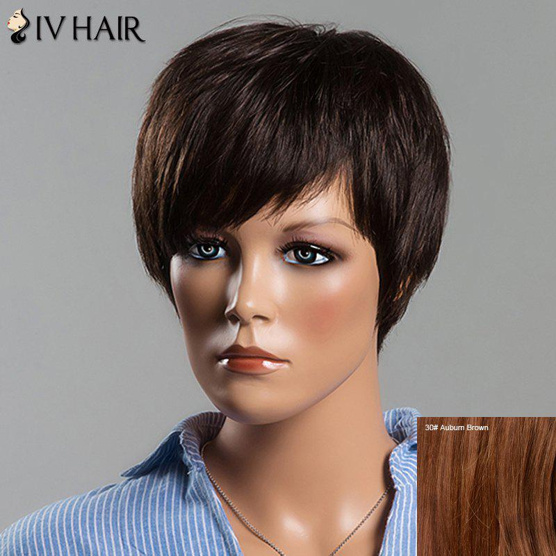 Spiffy Side Bang Women's Short Fluffy Straight Siv Human Hair Wig - AUBURN BROWN