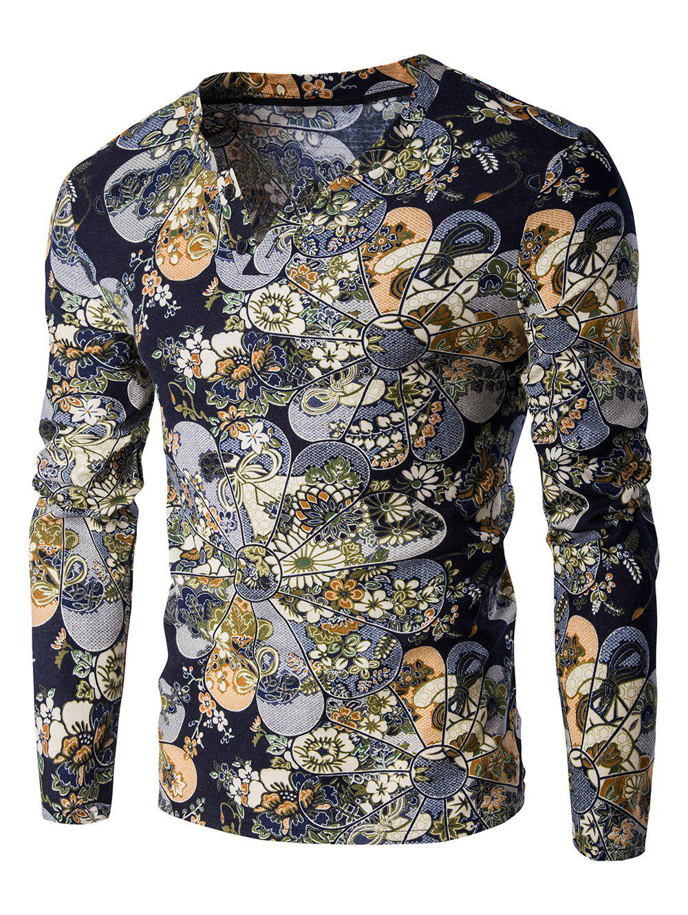 Abstract Ethnic Style Floral Pattern V-Neck Long Sleeve Men's T-Shirt