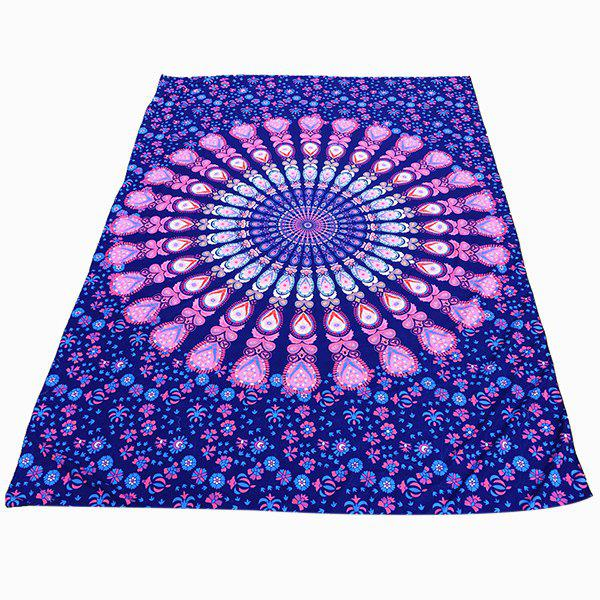 Ethnic Style Light Purple Mandala Yoga Mat Gypsy Cotton Tablecloth Beach Throw Shawl Wrap Scarf - LIGHT PURPLE