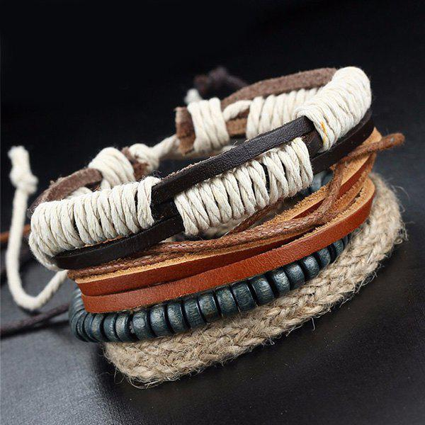 A Suit of Multilayered Faux Leather Beads Wrap Bracelets - BLACK