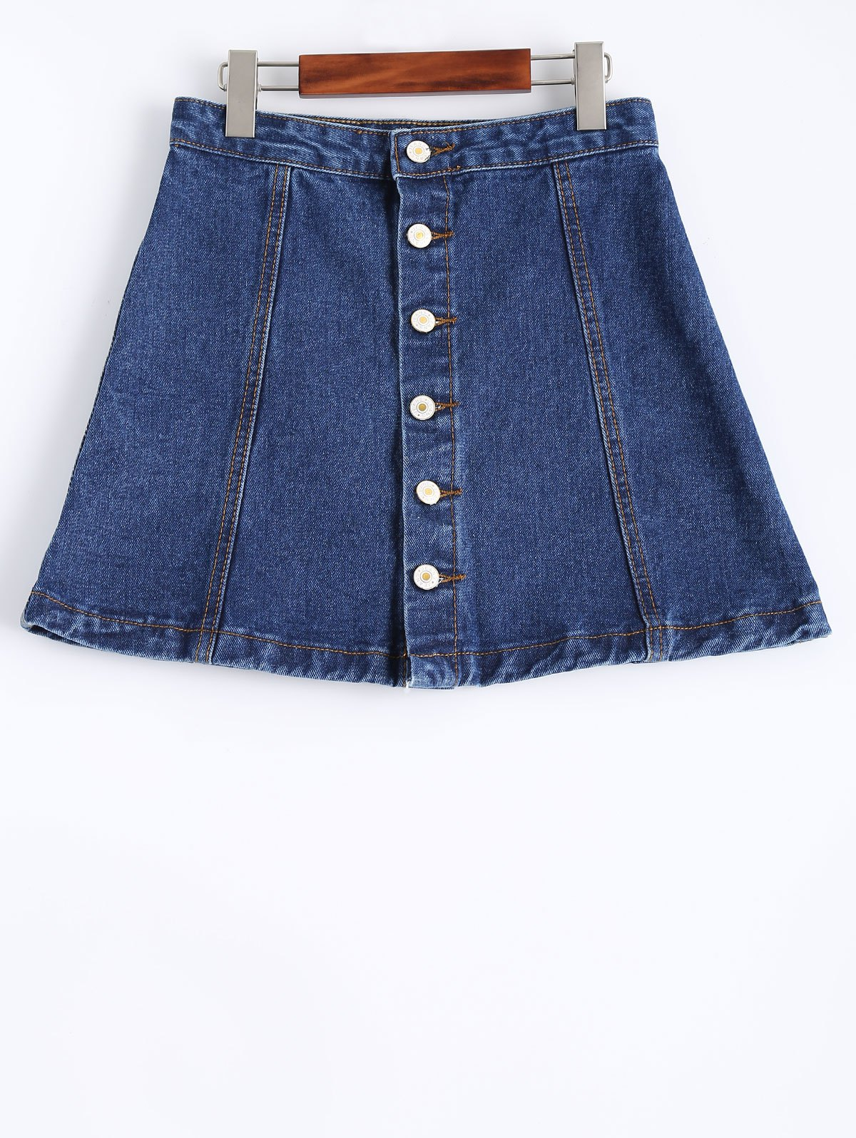 Single Breasted Denim Skirt - DENIM BLUE M