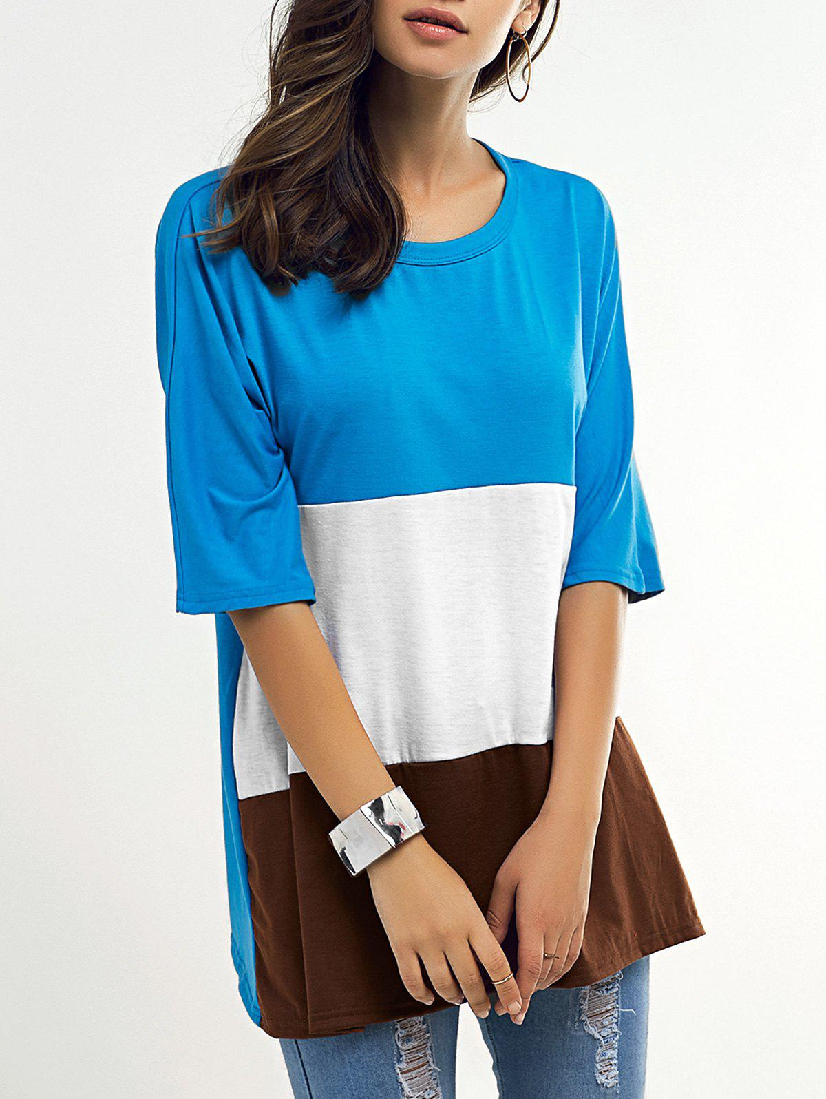 Color Block Loose Half Sleeve T Shirt - COLORMIX XL
