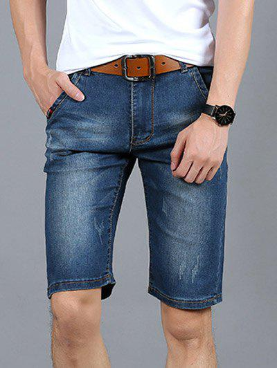 Fashionable Frayed Mid-Wash Slim Fit Denim Shorts For Men - DENIM BLUE 33