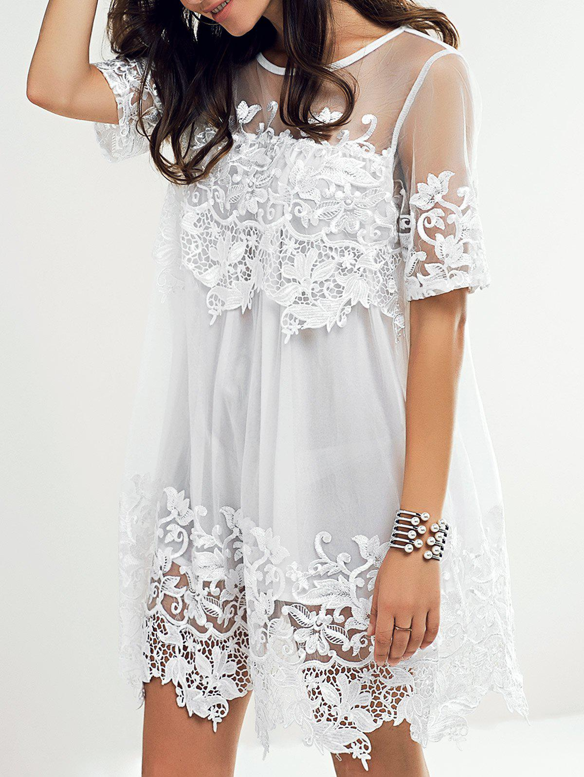 Sweet See-Through Lace Applique Dress For Women - WHITE M