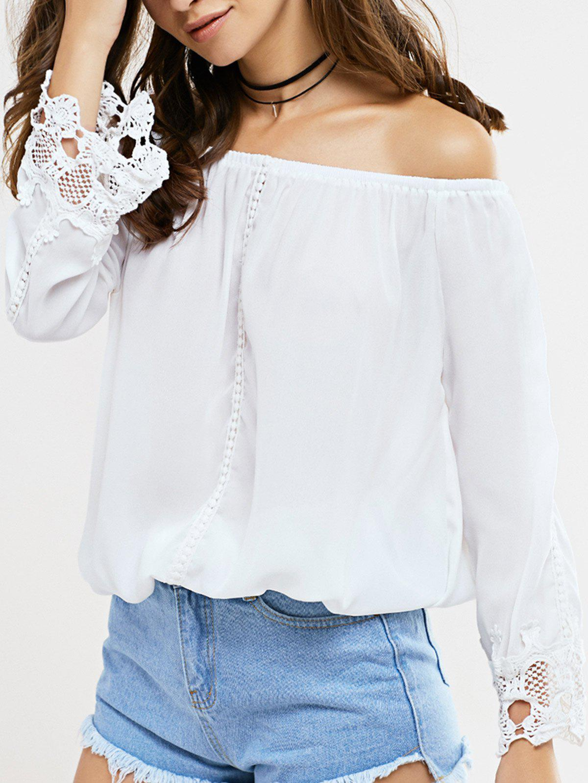 Sweet Off-The-Shoulder Lace Patchwork Blouse - WHITE XL