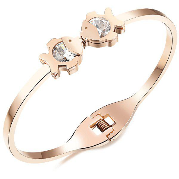 Elegant Faux Zircon Kissing Fish Bracelet For Women