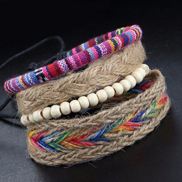 A Suit of Layered Faux Leather Beads Wrap Bracelets - COLORMIX