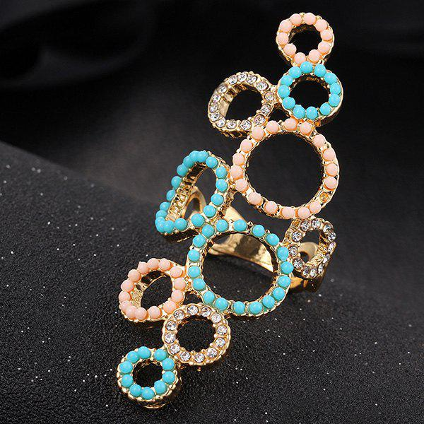 Chic Emboss Rhinestone Beads Circle Ring For Women - BLUE ONE-SIZE