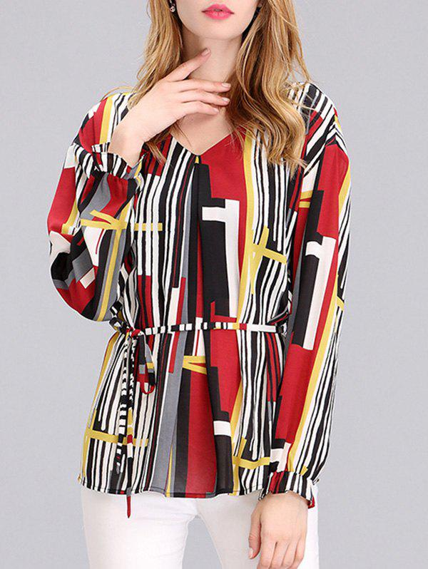 Elegant Women's Abstract Print Cuff Ruffled Chiffon Blouse - COLORFUL 2XL