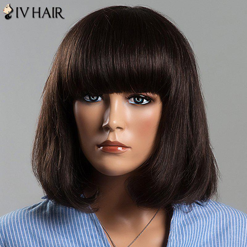 Endearing Full Bang Women's Short Straight Siv Human Hair Wig - MEDIUM BROWN