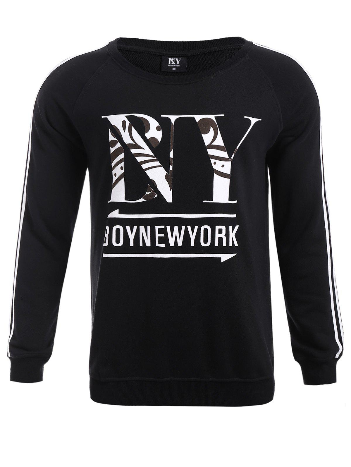 BoyNewYork Stripes Pattern Sweatshirt - BLACK S