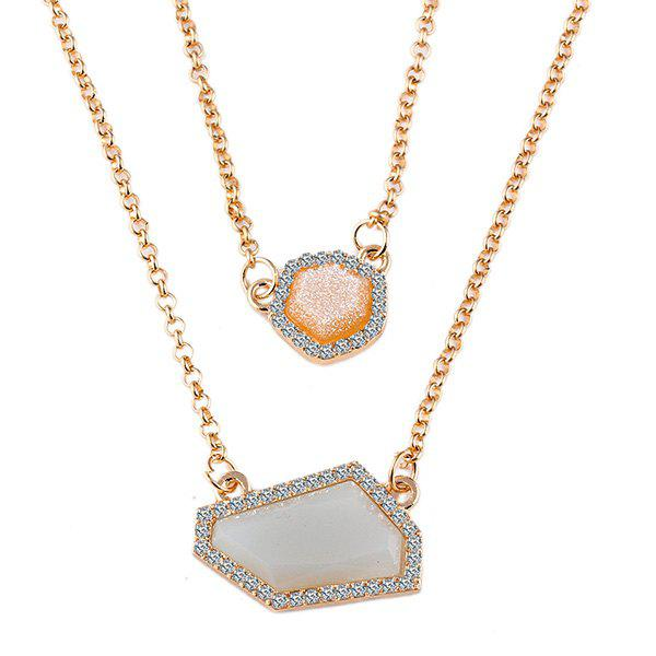 Charming Layered Faux Gem Rhinestone Necklace For Women - GOLDEN