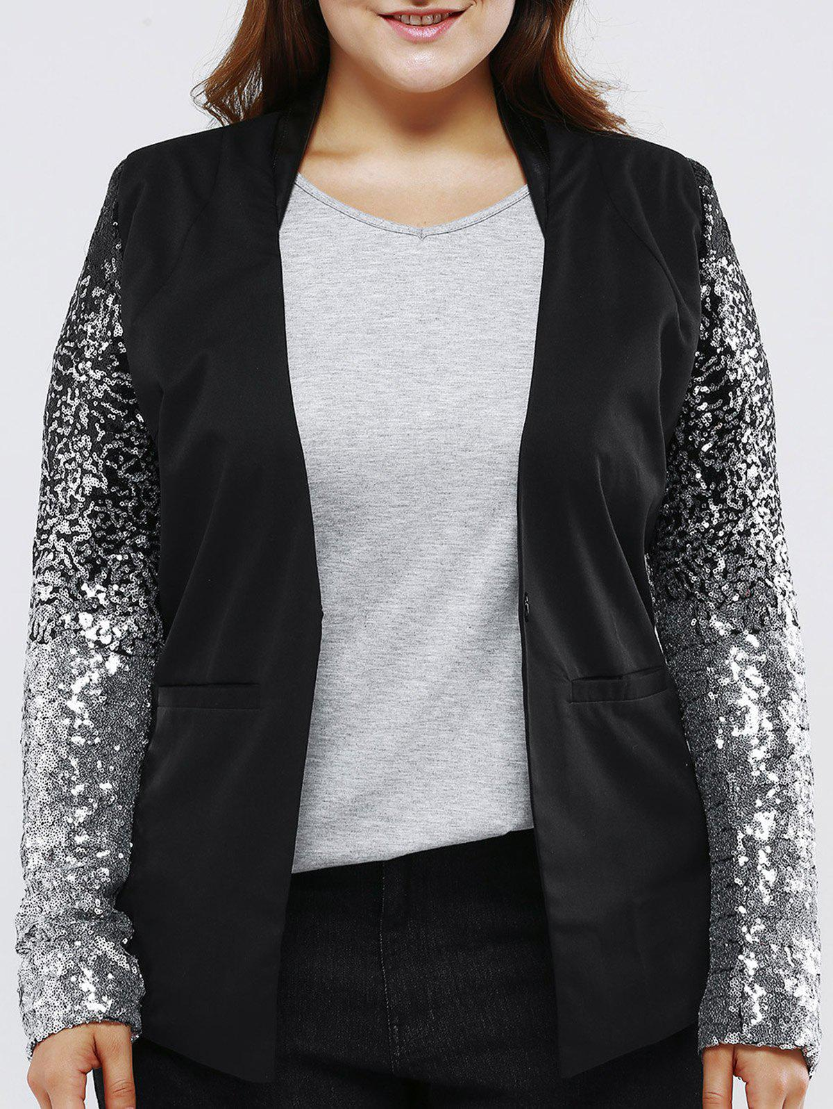 Plus Size Chic Sequined Sleeve Blazer - BLACK 3XL