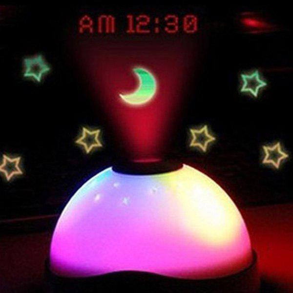 Multifunctional Dream LED Electronic Luminous White Moon And Projection Clock - WHITE