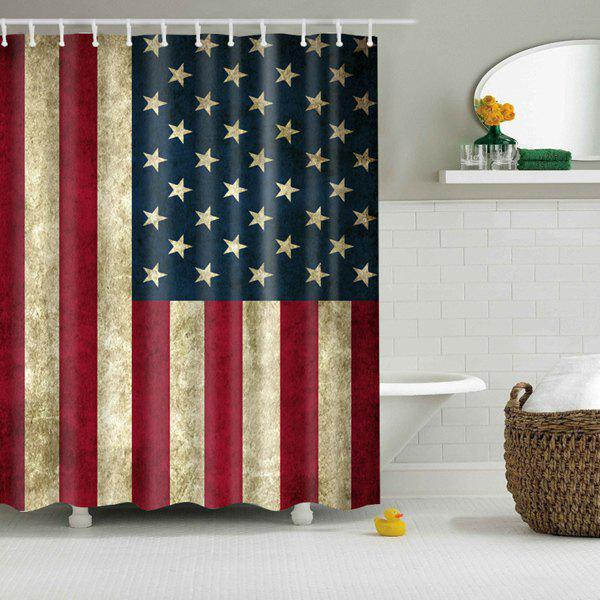 Waterproof Fabric Patriotic American Flag Print Shower Curtain - COLORMIX