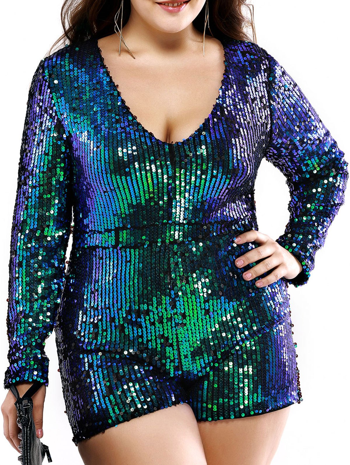 Plus Size Stylish Plunging Neck Sequined Romper - GREEN 2XL