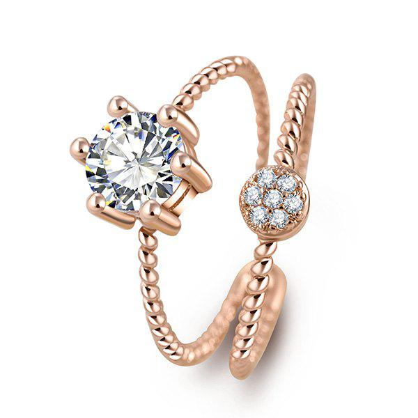 Chic Layered Rhinestone Cuff Ring For Women - GOLDEN ONE-SIZE