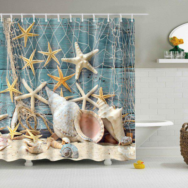 Waterproof Starfish and Shell Print Shower Curtain - COLORMIX