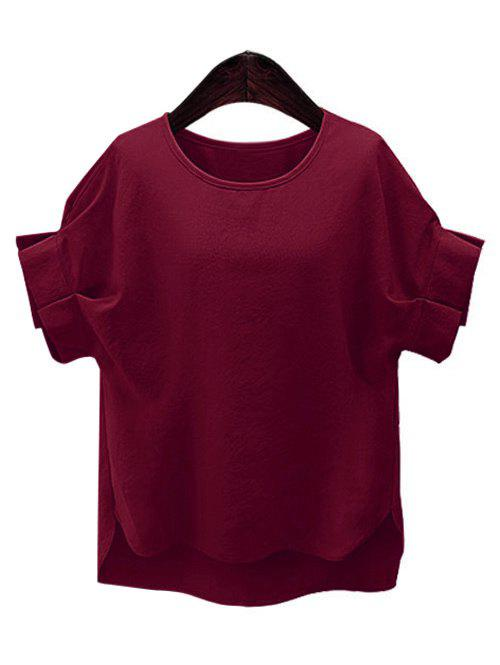 Plus Size Short Sleeve Ruffled Women's T-Shirt - WINE RED L
