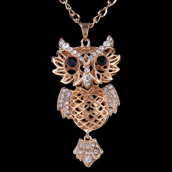 Hollow Out Owl Pendant Necklace - CHAMPAGNE
