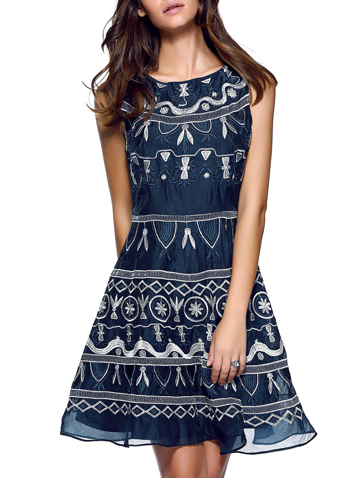 Ethnic Embroidered Flounce Gauze Dress - CADETBLUE L