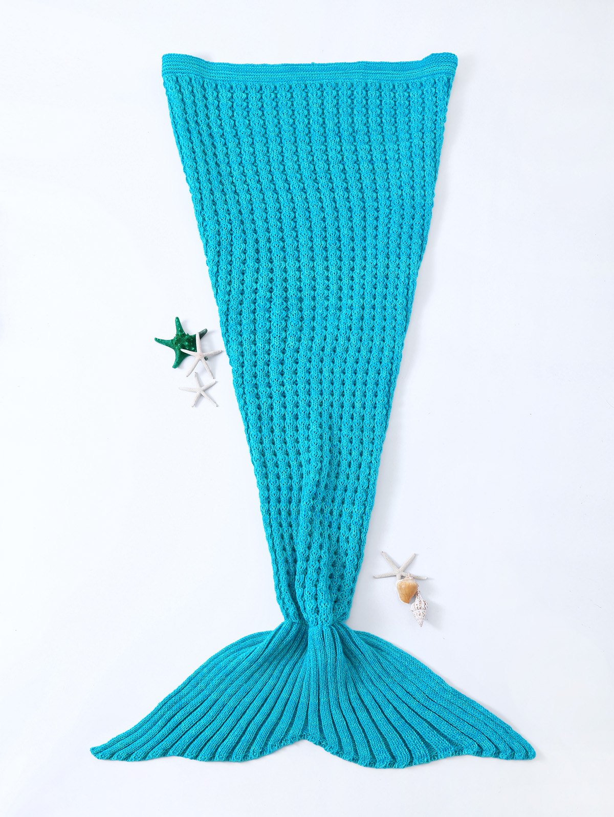 Fashionable Blue Crochet Knitted Mermaid Tail Design Blanket For KidsHome<br><br><br>Color: BLUE