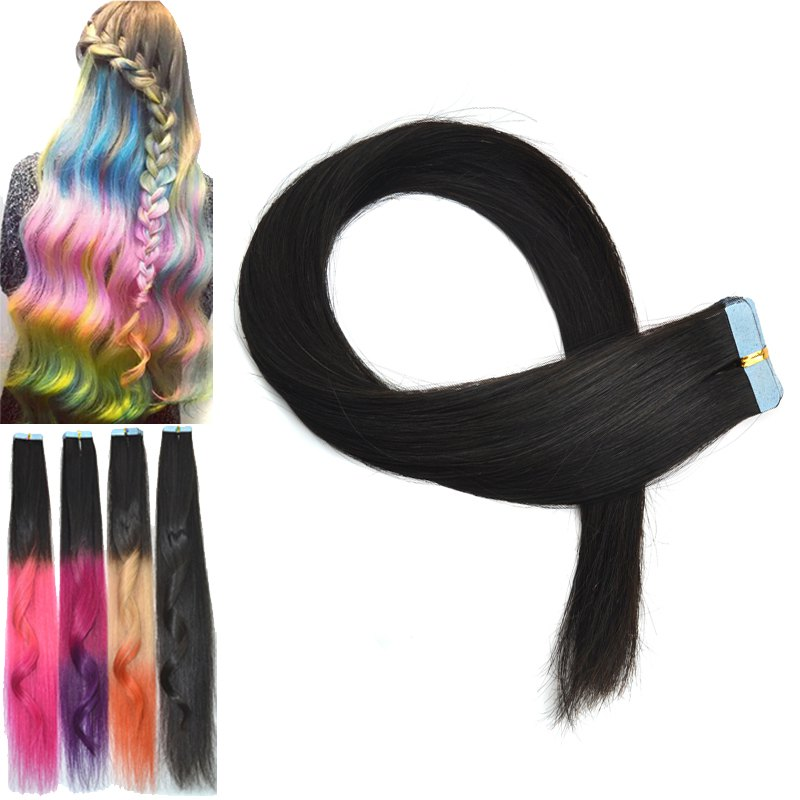 Stylish Colorful Traceless Straight Human Hair Extension For Women