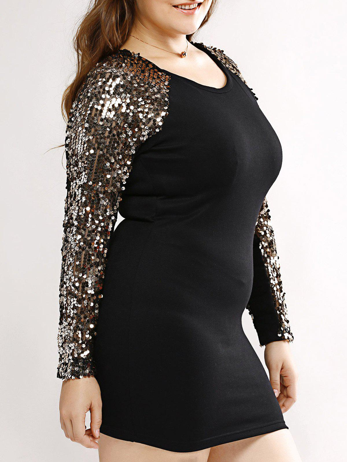 2018 Plus Size Bodycon Long Sleeve Sequin T Shirt Dress BLACK ...