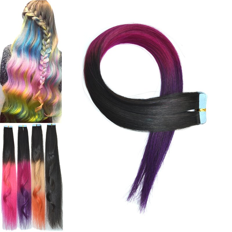Fashion Three Color Ombre Traceless Straight Women's Human Hair Extension - OMBRE