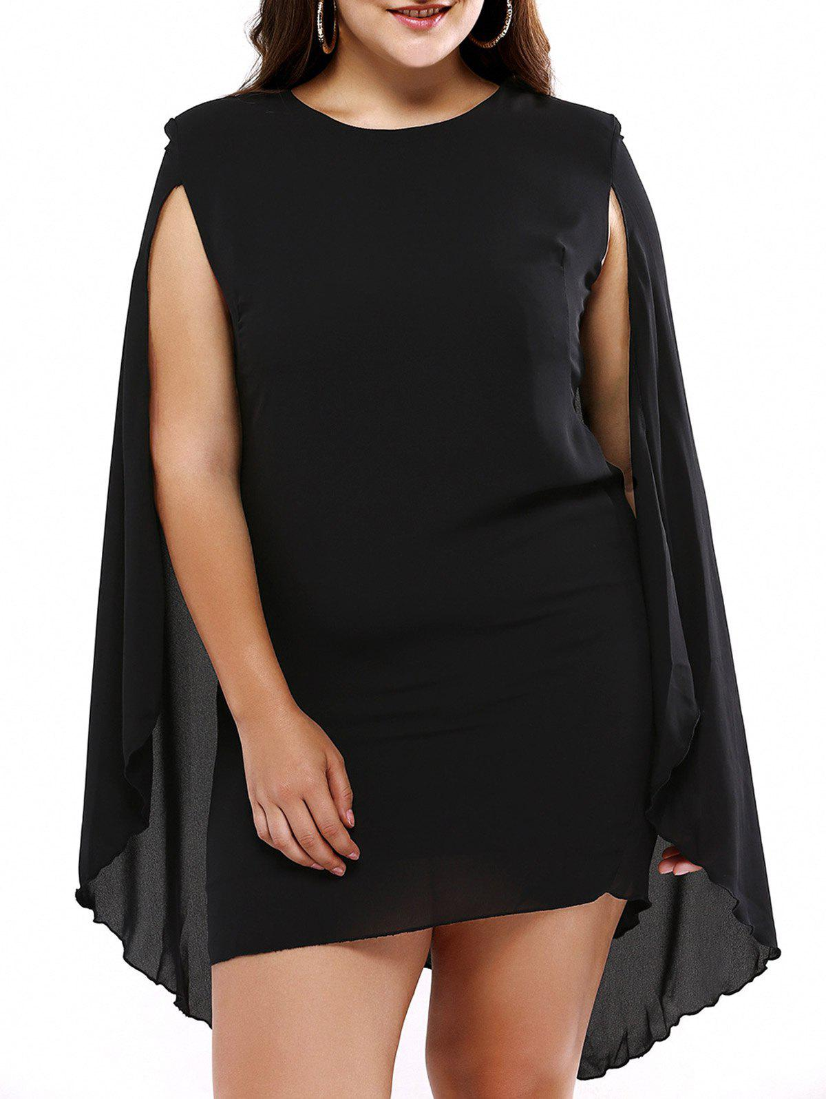 Plus Size Novelty Cape Sleeve Black Dress plus size novelty cape sleeve black dress