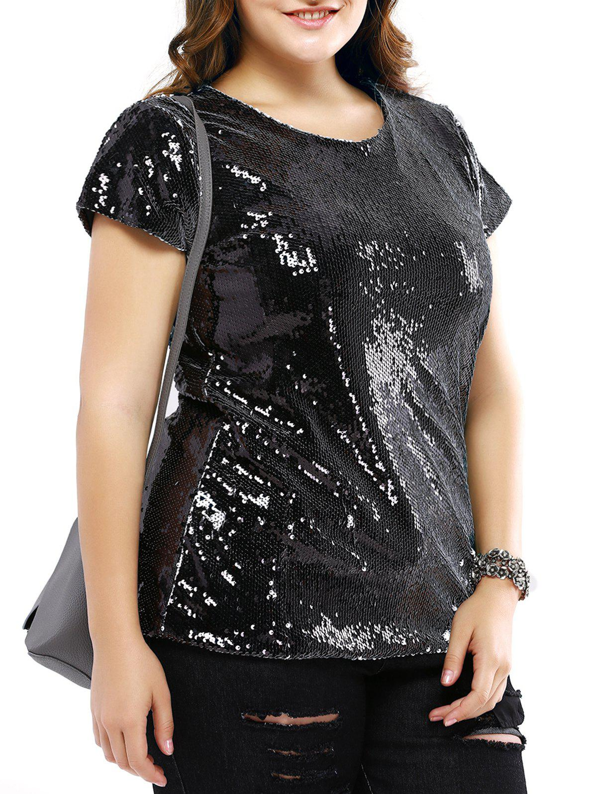 Plus Size Trendy Sequined Black T-Shirt