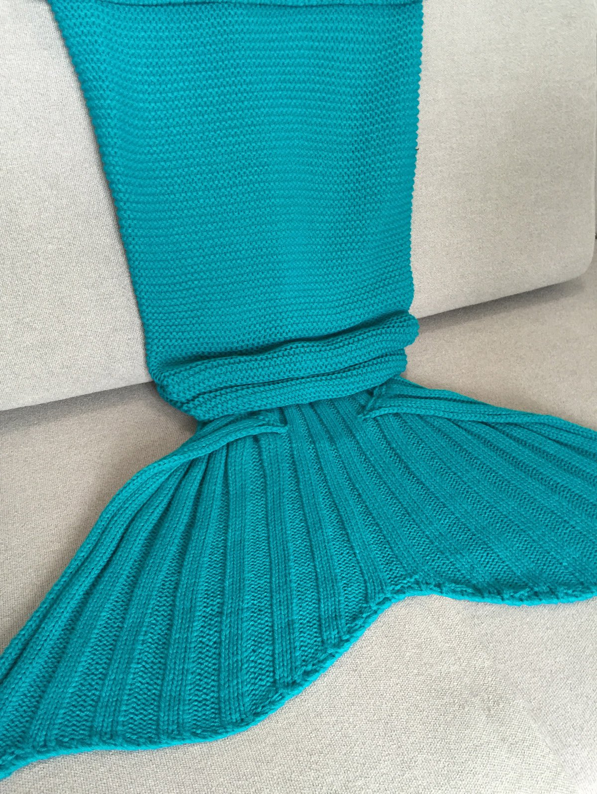 High Quality Solid Color Knitted Mermaid Tail Design Blankets For Adult - TURQUOISE