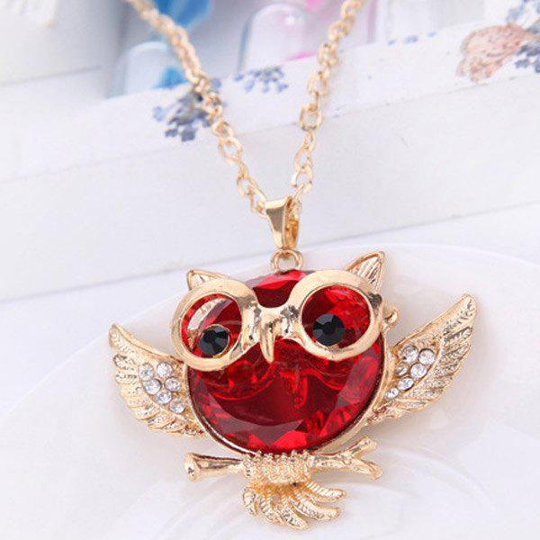 Faux Crystal Rhinestone Hollow Out Owl Shape Necklace - RED
