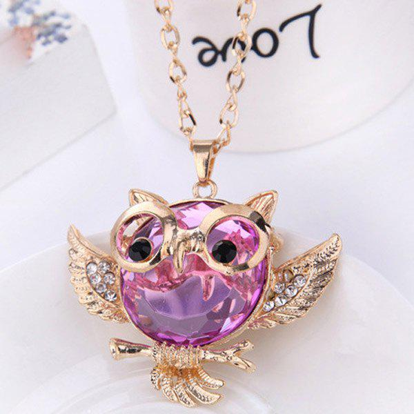 Faux Crystal Rhinestone Hollow Out Owl Shape Necklace - PINK