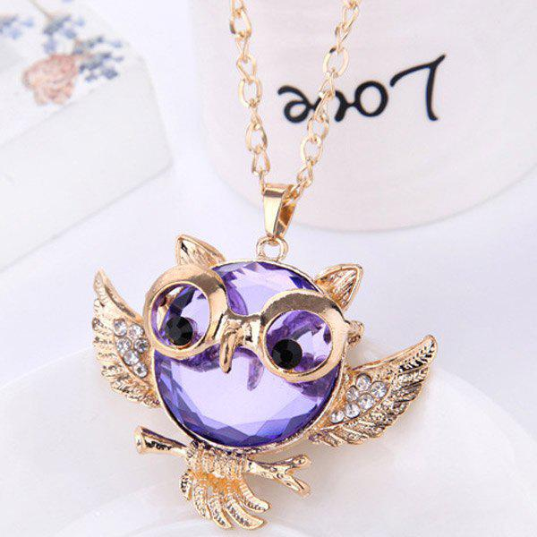 Faux Crystal Rhinestone Hollow Out Owl Shape Necklace hollow out round faux crystal metal necklace