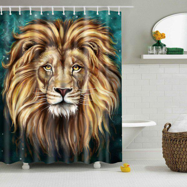 Lion Rush Out Pattern Waterproof Shower Curtain - GREEN / BROWN