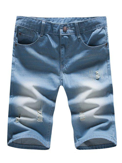 Ripped Denim Men's Bermuda Shorts - LIGHT BLUE 34