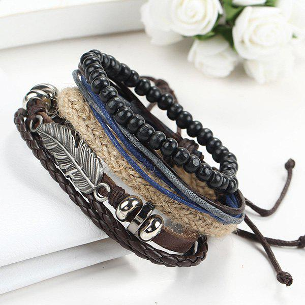 A Suit of Gorgeous Faux Leather Beads Feather Bracelets For Men - BLACK