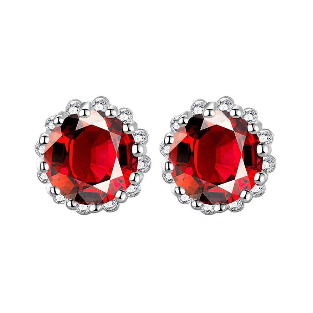 Pair of Vintage Red Rhinestone Carved Edge Earrings For Women
